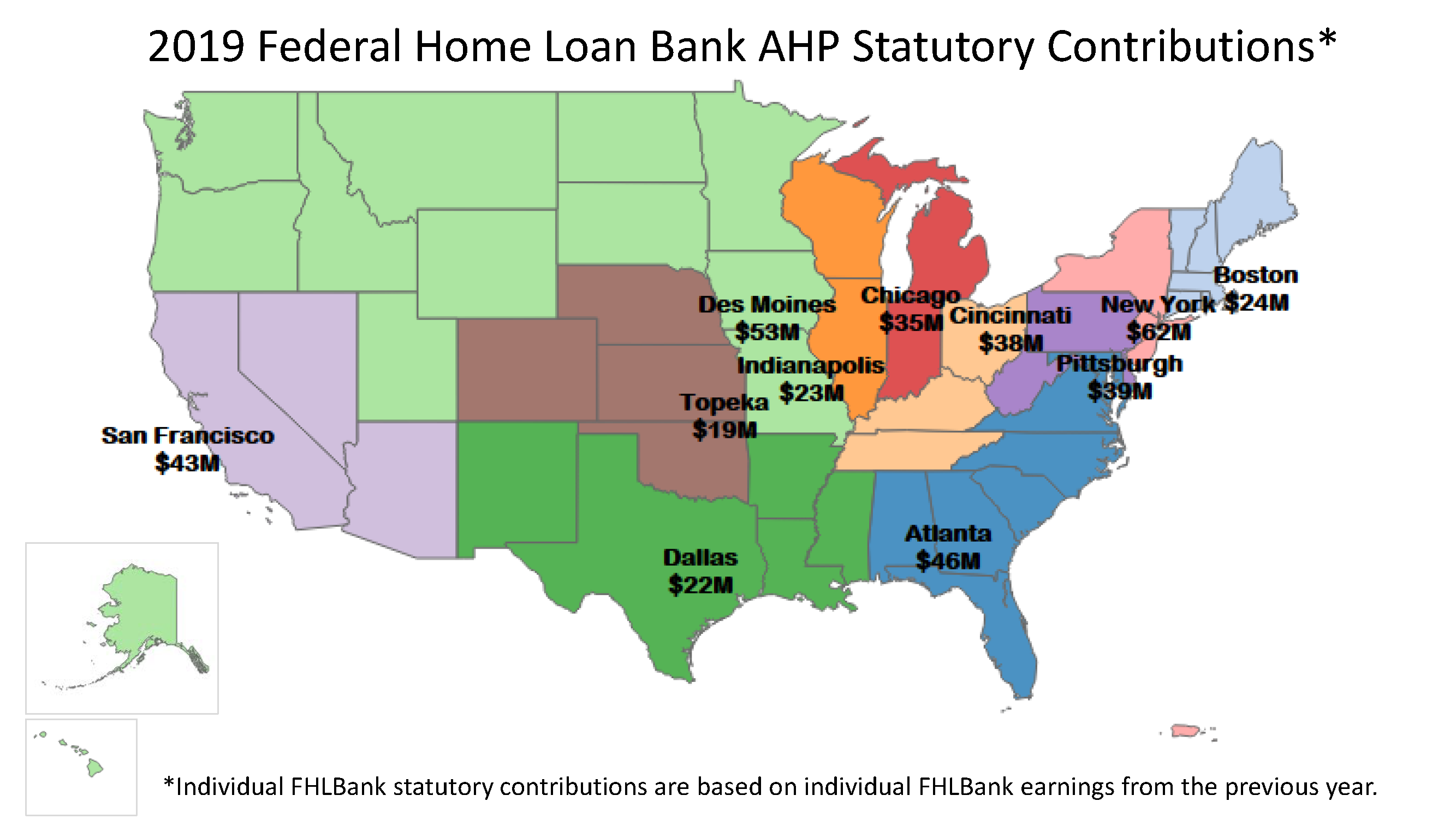 2019 FHL Bank statutory contributions map thumbnail